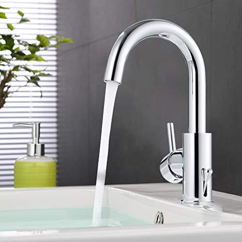 ubeegol Messing Chrom Wasserhahn Bad Armatur 360° Drehbar Waschtischarmatur Waschbeckenarmatur Badarmatur Waschbecken Mischbatterie