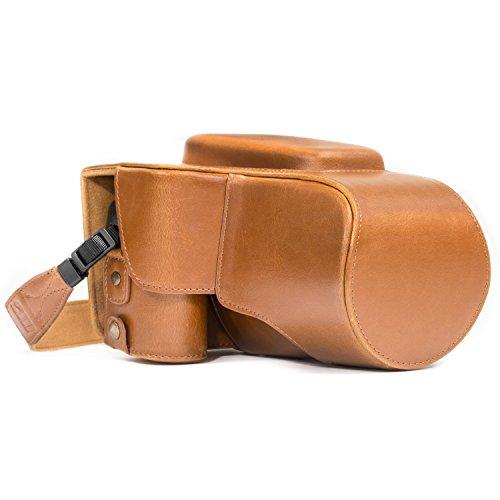 MegaGear Nikon Coolpix P900, P900S Ever Ready Leder Kamera-Hülle mit Trageriemen & Batteriezugang Hellbraun MG534