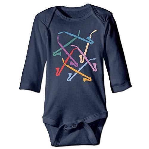 FULIYA Body de manga larga para beb con diseo de orugas, unisex, para nios pequeos, clarinetes altos, para nias, de manga larga, color azul marino