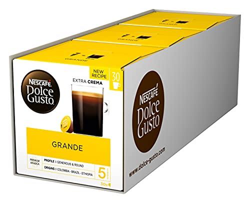NESCAFÉ Dolce Gusto Caffe Crema Grande, XXL-Vorratsbox, 90 Kaffeekapseln, 100% Arabica Bohnen, feinste Crema und kräftiges Aroma, Blitzschnelle Zubereitung, 3er Pack (3 x 30 Kapseln)