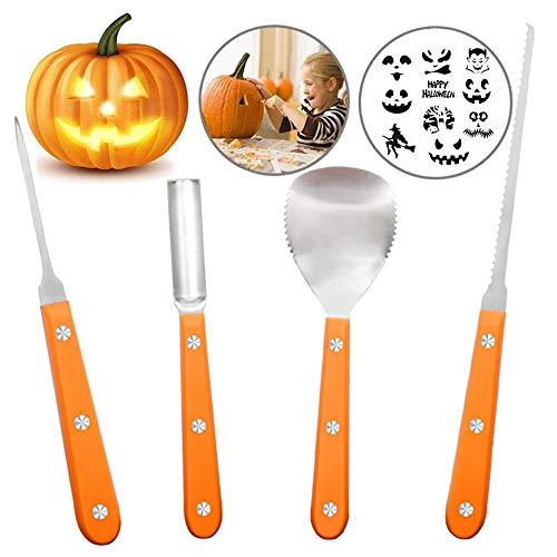 Ubitree Herramientas de tallado de calabaza, Kit de tallado de calabaza de Halloween, Juego de herramientas de calabaza de acero inoxidable resistente de 4 piezas para adulto y niño
