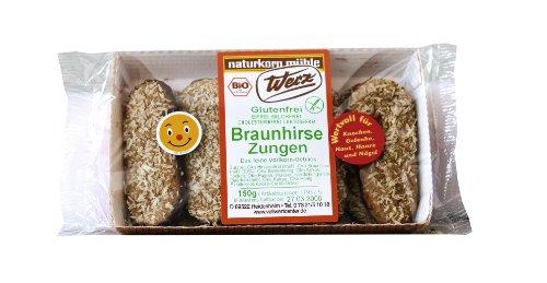 Werz Braunhirse-Zungen glutenfrei, 1er Pack (1 x 150 g Packung) - Bio