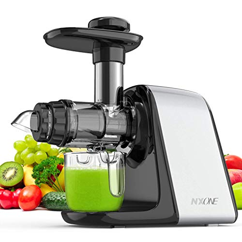 Juicer Machines, NXONE Slow Masticating Juicer, Cold Press Juicer Extractor with High Hardness Tritan Not Break, Superior Motor Not Jammed, Slow Juicer Easy to Clean, 3 Modes for Vegetables & Fruits