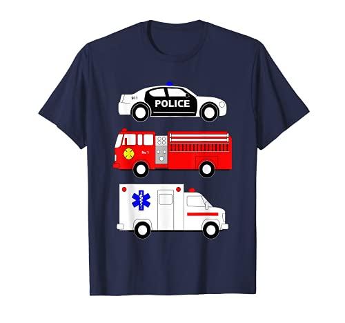 Police Car Fire Truck Ambulance First Responders Design T-Shirt