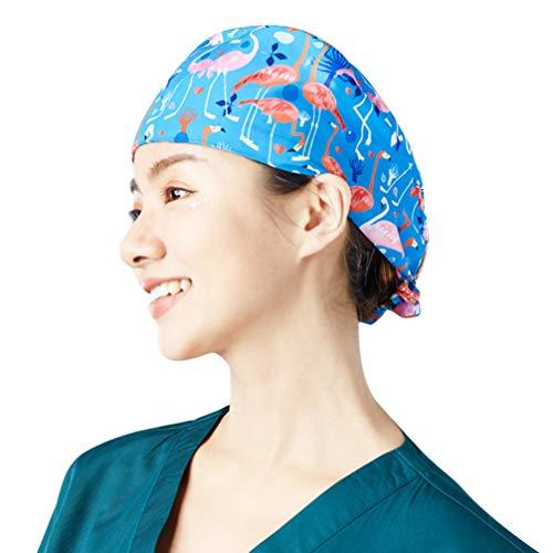 NONE OP Haube Chirurgische Hut Verstellbar Kochmütze Kopfhauben Baumwolle Peeling Kappe für Arzt Zahnarzt Krankenschwester Peeling Chemo Bandana Kopfbedeckung (Flamingo)