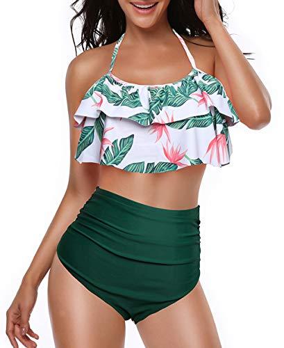 Alleen Damen Bikini Rüschen High Waist Badeanzug Neckholder Zweiteilige Bikini-Set (S, Grün Blätter-E)