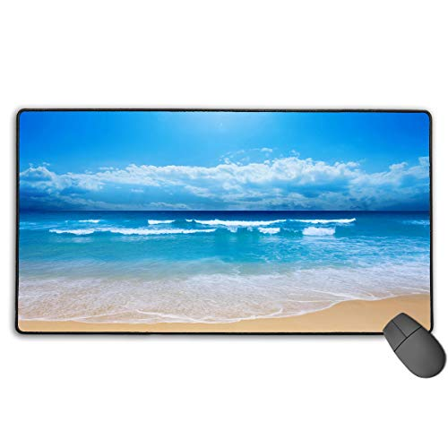 Mouse Mat Gaming Mouse Pad Large Ocean Beach Blue Mousepad Mat Non-Slip Base Water-Resistant Mouse Mat for Laptop Work Professional Desk Writing Pad