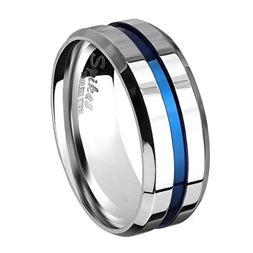 Piersando Herren Band Ring Bandring Edelstahl poliert Zwei Ton Silber mit blauen Inlay Männer Biker Rocker massiv breit Herrenring Größe 68 (21.6)