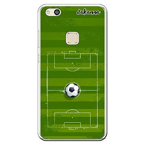 dakanna Custodia per Huawei P10 Lite   Campo di Calcio e Pallone   Cover in Gel di Silicone TPU Morbido di Alta qualità Trasparente