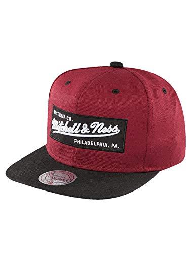 Mitchell & Ness NE18Z Snapback Cap 2 Tone Label Dunkelrot Schwarz, Size:ONE Size