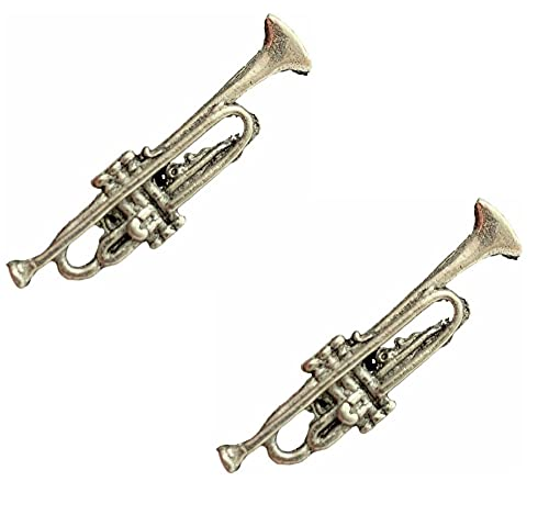 2 x Trompete (Musik) handgefertigt aus englischem Zinn Pin Anstecker und Geschenkbeutel + 59 mm Anstecker