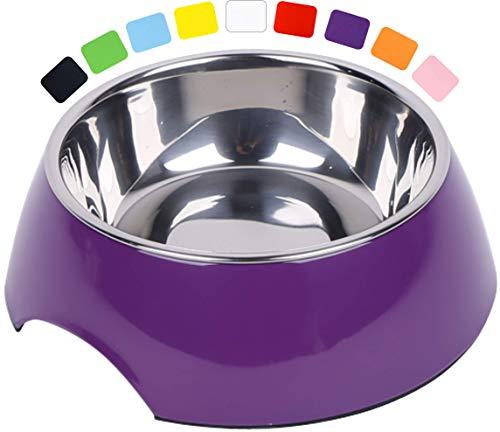 DDOXX Fressnapf, rutschfest | viele Farben & Größen | für kleine & große Hunde | Futter-Napf Katze | Hunde-Napf Hund | Katzen-Napf Edelstahl-Napf | Melamin-Napf | Lila Violett, 160 ml