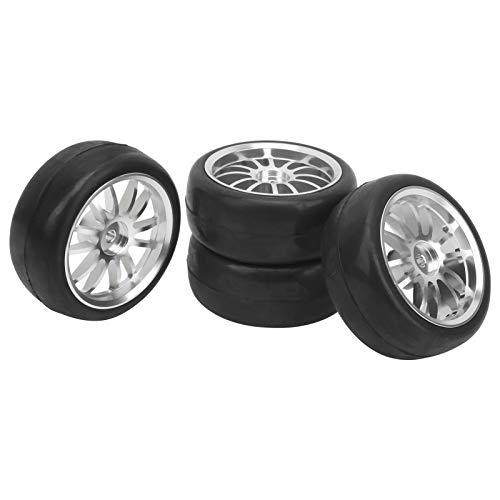 Neumático de Goma para Coche RC de 4 Piezas, reemplazo de neumático de Rueda de Cubo de derivación Antideslizante para Coche de Control Remoto para Piezas de actualización de camión WPL D12 RC 63MM
