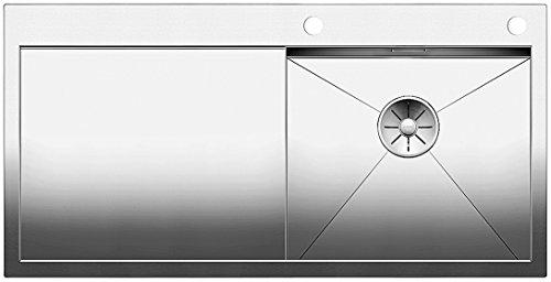 Blanco Zerox 5 S-IF, Küchenspüle, Becken rechts, für normalen und flächenbündigen Einbau, Nullradius-Design, InFino-Auslauf, Edelstahl Seidenglanz; 521627