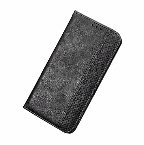 LINER Hülle für Asus ROG Phone 5, Premium Retro Lederhülle PU Flip Handyhülle Brieftasche Klapphülle Stoßfest Schutzhülle mit Kartenfach/Standfunktion/Magnetverschluss - Schwarz