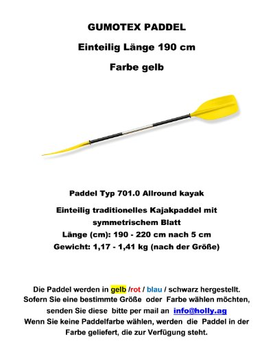 Rubberboten - Gumotex 1 - Gedeeltelijk symetisch blad kracht padddel 220 - 175 cm (afmeting aangeven) voor slang kajaks Stabilo ® - Slang kajaks paddel voor Camping-Caravan-Outdoor-vrije tijd - Verdrijf Holy Produkte Stabilo - Innovaties gemaakt in Duitsland - Holly ® producten STABIELO ® - Holly-sunshade ® LEVERBARE kleuren - ZWART - GEEL - ROOD - BLUE - vlt. Afbeelding