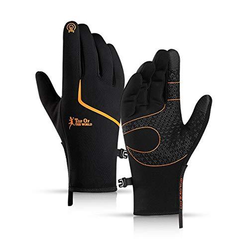 Resalte Logotipo Reflectante Sensible Pantalla táctil de Dos Dedos Guantes Deportivos Moda de Invierno Dedos completos Guantes Deportivos cálidos-Black orange-3-XL