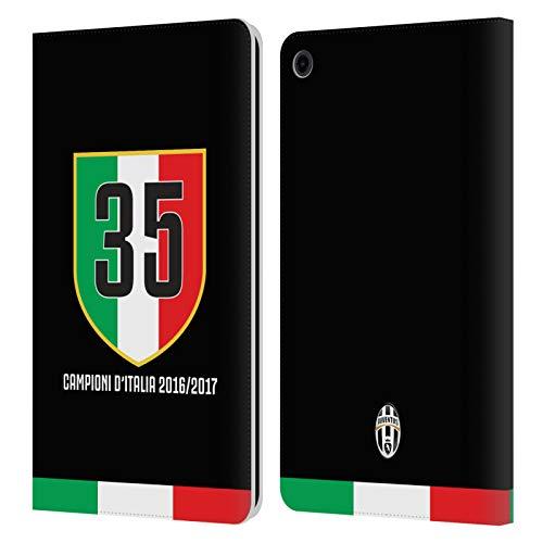 Head Case Designs Ufficiale Juventus Football Club Nero 2016/17 Campioni d'Italia Cover in Pelle a Portafoglio Compatibile con Fire HD 8 (2015) (2017) (2018)
