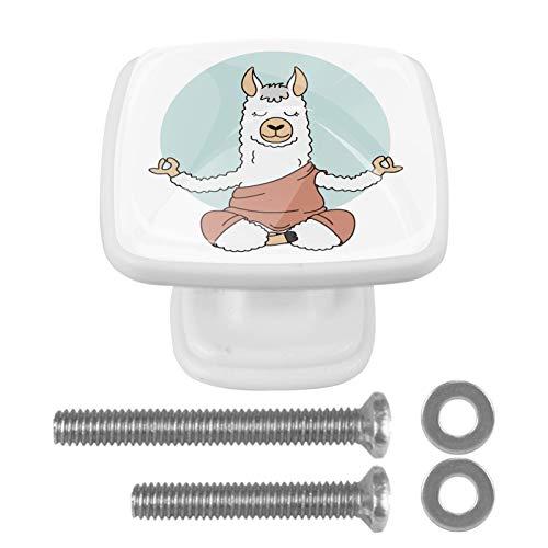 Pomos pesados para armario de cocina, 4 unidades, de cristal ABS, para puerta de gabinete, perillas pesadas, accesorios de cocina para baño, cajones de yoga, animales de alpaca