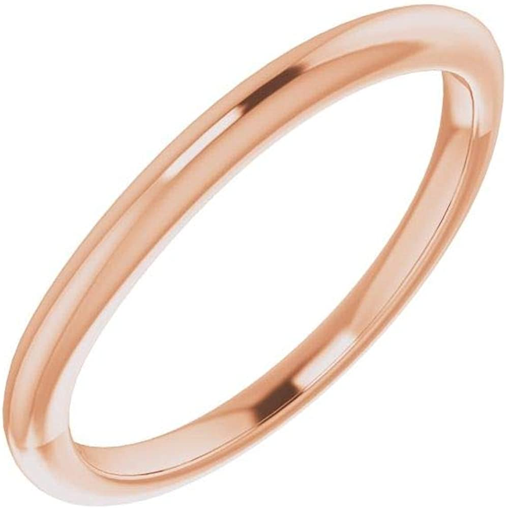 Solid 18K Super Special SALE held Rose Gold Curved Notched Wedding for 5.2mm Band Sales Round
