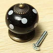 Generic Drawer Knob Cabinet Vintage Dot Round Ceramics Pull Handle Cupboard-Black