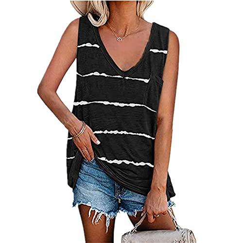 äRmelloses Weste-T-Shirt Mit Gestreiftem Rundhalsausschnitt Und Sommer-Damen-Batikdruck