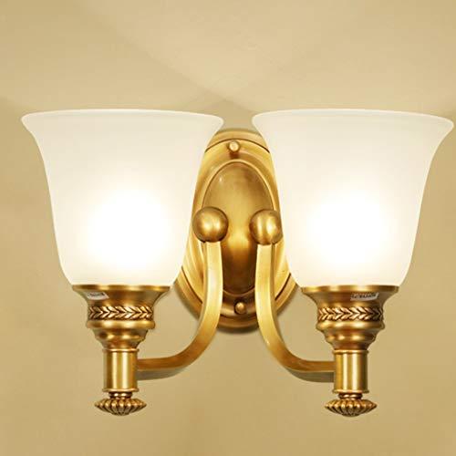 GFDFD Lámpara de Pared Moderna de la lámpara Doble, Sala de Estar TV Fondo Lámpara de Pared Lámpara de Vidrio Sombra Dormitorio de Oro Lámpara de Cobre