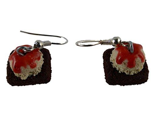 Ohrringe Ohrhänger Hänger handgemachte Pie Kuchen Torte Brownie Schokolade Eis Vanille Erdbeer 3688