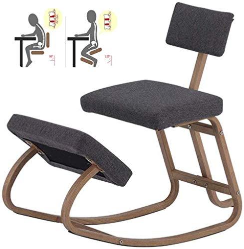 LIUBINGER Drehbarer Bürostuhl Kniend Stühle Office Balance Stoff Kissen Metallhalterung Kneel Hocker Rocking Rückenstütze Haltung Rücken (Color : Gray)