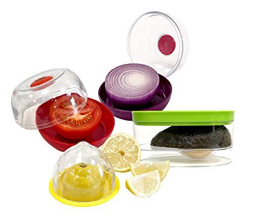 Avocado, Onion, Tomato, and Lemon Keeper/Saver/Holder - Premium 4 Piece Storage Set - Certified BPA Free