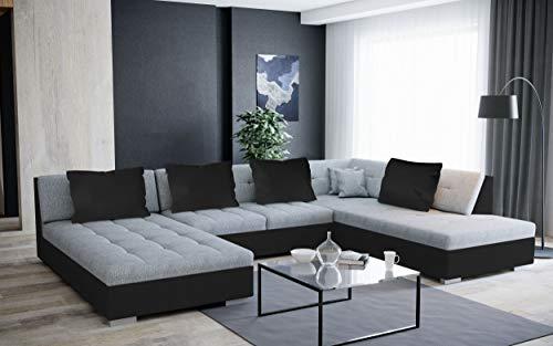 Canapé d'angle Convertible et panoramique en U Otis Gris et Noir