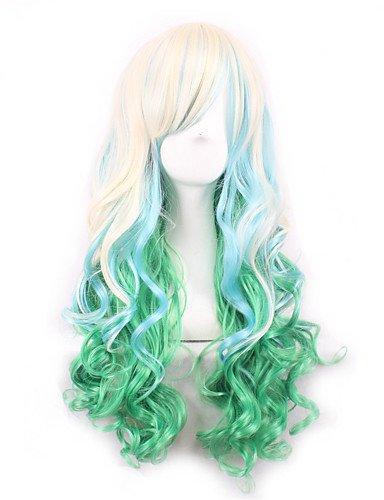 jiayy/Lolita Vert Jaune Ombre perruque pelucas Poil pelucas sintu00e9ticas naturelles résistant au Chaleur pelucas Cosplay Perruque Peruca Bouclé 24\