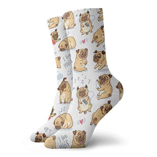 Netter Lustiger Mopswelpe Novedad Funny Crazy Crew Sock Cool Unisex Sport Athletic Calcetines 30 cm de largo Personalizado Regalo Calcetines 30 cm