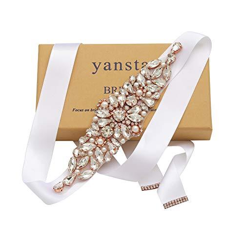 Yanstar Wedding Bridal Belt Silver Rhinestone Crystal Pearl Sash With Black Ribbon With Bridal Gown Wedding Dress Belt Sash 3In1.8In