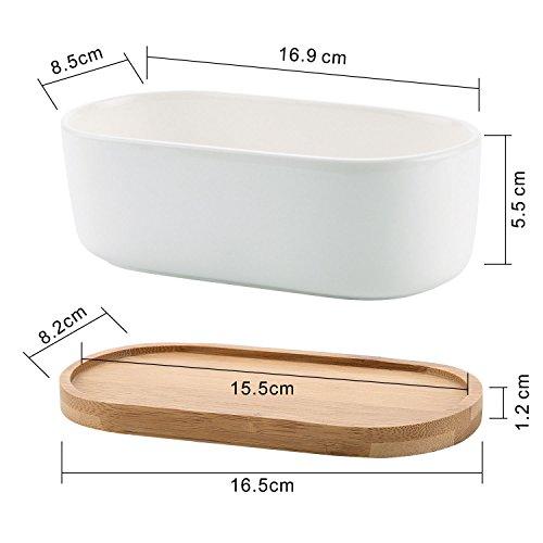 T4U 16.9CM 陶器鉢 白 楕円 植木鉢 多肉植物 サボテン鉢 竹トレイ付き