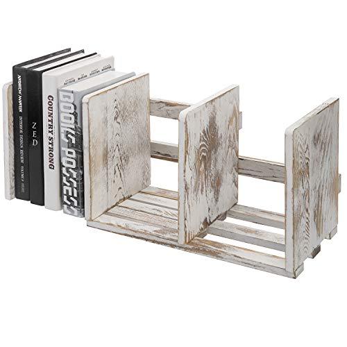 MyGift Expandable Whitewashed Wood Desktop Bookshelf Organizer Rack