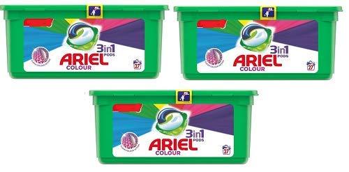 Ariel 3 en 1 cápsulas de lavado de color, 3 x 27 lavados = 81 lavados en total* * * Importación de stock*