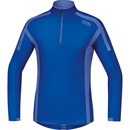 GORE RUNNING WEAR, Maglia Corsa Uomo, Maniche lunghe, Comoda e Calda, GORE Selected Fabrics, AIR Zip long, SMZAIR
