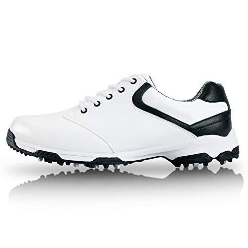 Mhwlai rutschfeste Herren-Golfschuhe, atmungsaktive Herren-Golfschuhe aus Leder Vamp ist wasserdichter, atmungsaktiver Herren-Golfschuh aus Superfaser (weiß),White,44