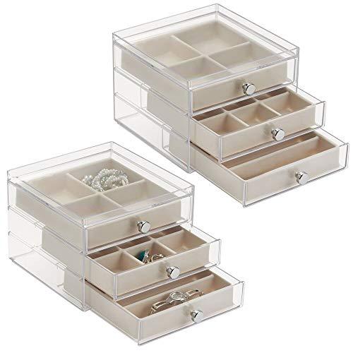 mDesign Schmuckkasten mit Schubladen - ideale Aufbewahrung von Ohrringen, Ringen, Broschen etc. – Schmuckaufbewahrung mit Aufbewahrungsbox - Farbe: durchsichtig/elfenbeinfarben - 2er-Set