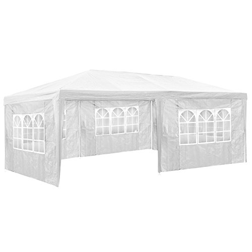 TecTake 800382-3 x 6m Gazebo Marquee, with 5 Sides, Pavilion Frame with Roof, ideal for Garden Party Festival Beer Tent (White | No. 402301)