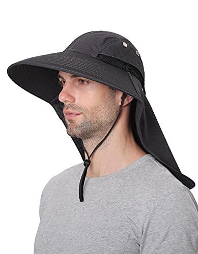 Sombreros para el Sol Hombre, Gorra Transpirable ala Ancha protección UV Protege Cuello Cara, ...