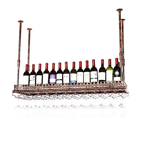BINHC Estante para Vinos, Bar, Restaurante, Colgante, Estante para Copas de Vino, Estantes para Copas de Vino Estilo Vintage Barra Creativa Decoración Estante de Exhibición Soporte para Botellas,100M