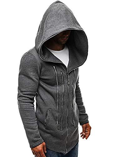 HenShiXin Männer Lose Diablo Mode Mantel Pullover Multi Reißverschlussdekoration Mit Kapuze gemäß (Color : Dark Grey, Size : M)