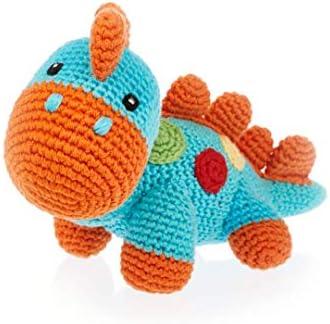Pebble Handmade Dinosaur Turquoise Crochet Fair Trade Pretend Imaginative Play Stegosaurus Machine product image