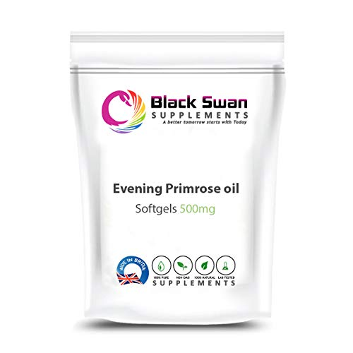 Black Swan Eve Primrose Oil 500mg Softgels - Supplement for Women - Healthy Skin, Hair and Bones - Support Premenstrual Syndrome and Menstrual Cramps - with Essential Omega-6 Fatty Acid (60 Softgels)