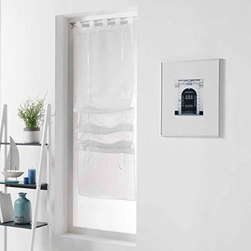 Paris Prix - Store Voilage pointille 60x180cm Blanc