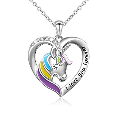 Amazon - Save 45%: DAOCHONG 925 Sterling Silver Engraved I Love You Forever Rainbow Unicorn…