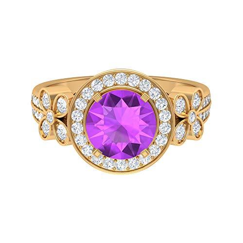 Rosec Jewels 18 quilates oro amarillo redonda round-brilliant-shape H-I Purple Diamond Creado en laboratorio de kunzita