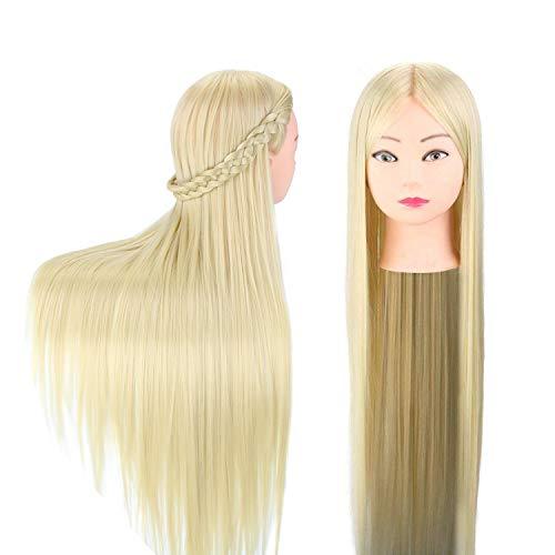 Neverland Übungskopf 30 Zoll Frisierkopf Trainingsköpfe für Friseure Frisurenkopf Schaufenster Puppenkopf 100% Kunstfaser Haar Mannequin Kopf Friseursalon mit Klemme